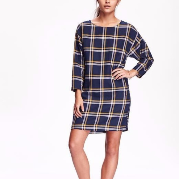7d3a118bce Old Navy Blue Plaid Cocoon Dress Soft Flannel L. M 5a96bc132c705d5e24b9bef4